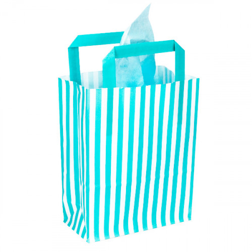 250mm Aqua Striped Paper Carrier Bags