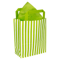 250mm Lime Striped Paper Carrier Bags