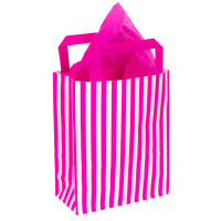 250mm Pink Striped Paper Carrier Bags