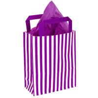 250mm Purple Striped Paper Carrier Bags