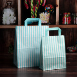 180mm Aqua Striped Paper Carrier Bags