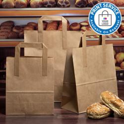 175mm Brown Paper Carrier Bags External Handles