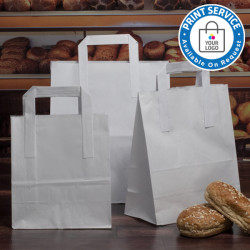 260mm White Paper Carrier Bags External Handles