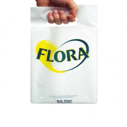 20x30cm White Printed Carrier Bags