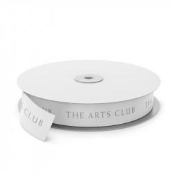 The Arts Club Printed Ribbon - White Printed Silver