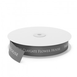 Claygate Flowers Printed Ribbon - Grey(0015)