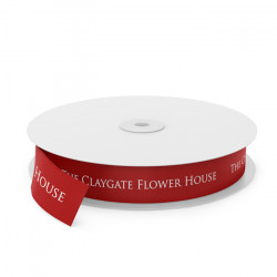Claygate Flowers Printed Ribbon - Red(0250)