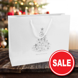 410mm White Christmas Tree Paper Carrier Bags