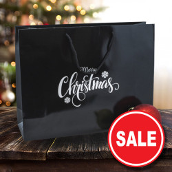 Merry Christmas Black Paper Carrier Bags *Silver Prt*
