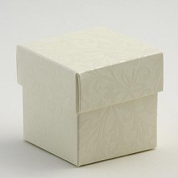 Square Cream Embossed Box