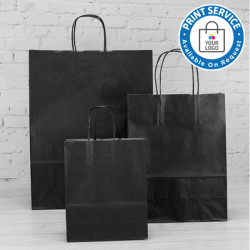 180mm Black Twisted Handle Paper Carrier Bags