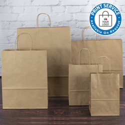 140mm Brown Twisted Handle Paper Carrier Bags