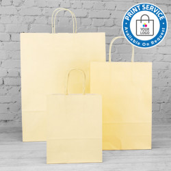 180mm Cream Twisted Handle Paper Carrier Bags