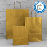 320mm Gold Twisted Handle Paper Carrier Bags