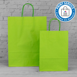 220mm Lime Twisted Handle Paper Carrier Bags