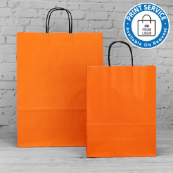 240mm Orange Twisted Handle Paper Carrier Bags