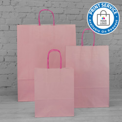 180mm Pastel Pink Twisted Handle Paper Carrier Bags