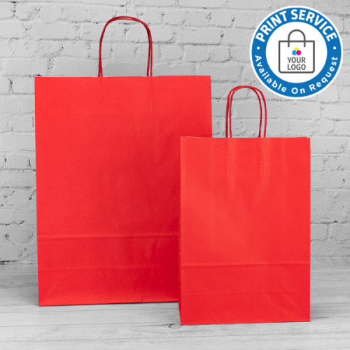 320mm Red Twisted Handle Paper Carrier Bags