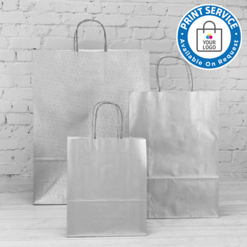220mm Silver Paper Carrier Bags Twisted Handles