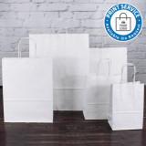180mm White Twisted Handle Paper Carrier Bags