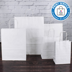 140mm White Twisted Handle Paper Carrier Bags