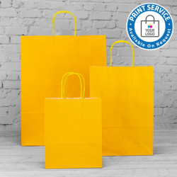 180mm Yellow Twisted Handle Paper Carrier Bags