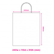 240mm White Twisted Handle Paper Carrier Bags