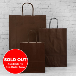 220mm Chocolate Twisted Handle Paper Carrier Bags