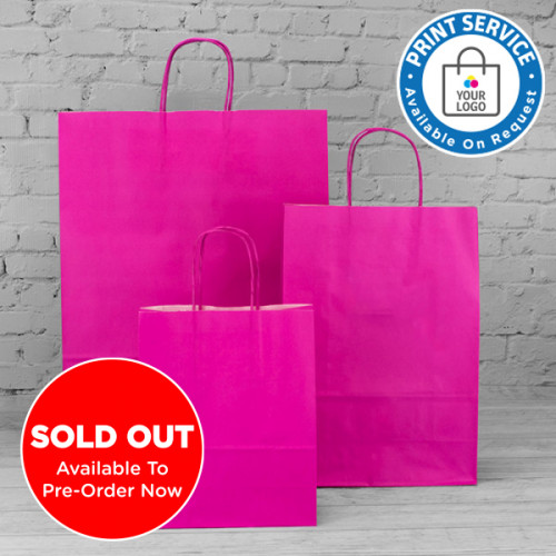 220mm Fuchsia Twisted Handle Paper Carrier Bags