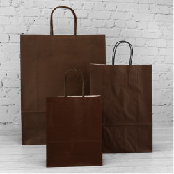 180mm Chocolate Twisted Handle Paper Carrier Bags