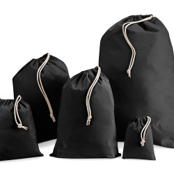 250mm Black Cotton Drawstring Bags