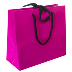 Large Fuchsia Ribbon Tie Laminated Carrier Bags