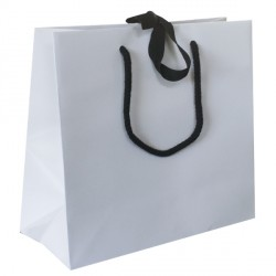 Large White Ribbon Tie Laminated Carrier Bags