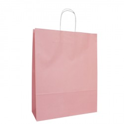 220mm Pastel Pink Twisted Handle Paper Carrier Bags