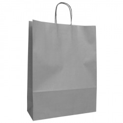 320mm Silver Paper Carrier Bags Twisted Handles