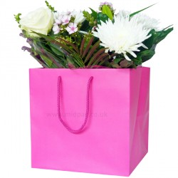 190mm Fuchsia Florist Paper Carrier Bags