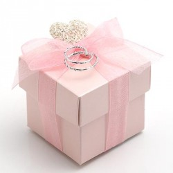 Pink Square Favour Boxes