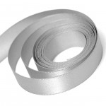 Silver Double Faced Satin Ribbon
