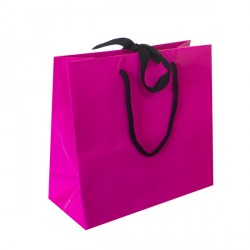 Small Fuchsia Ribbon Tie Laminated Carrier Bags