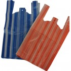 10x15x18in Striped Polythene Vest Carrier Bags