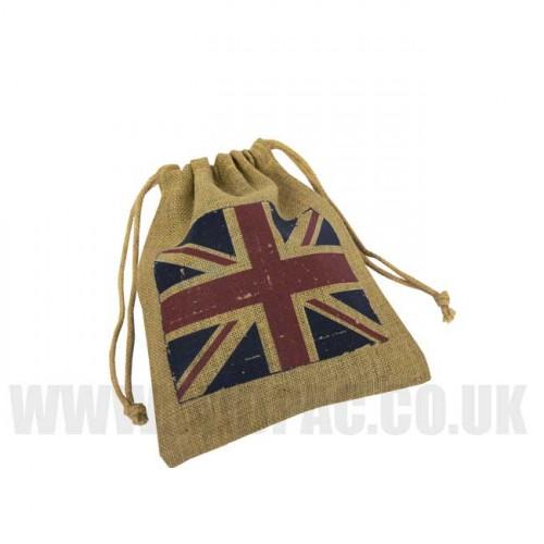 Union Jack Jute Drawstring Bags