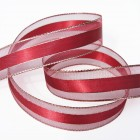 Wine Metallic Edge Ribbon