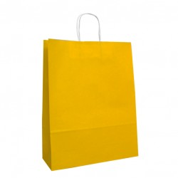 320mm Yellow Paper Carrier Bags Twisted Handles