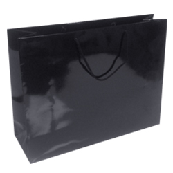 410mm Black Gloss Paper Carrier Bags