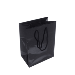160mm Black Gloss Paper Carrier Bags