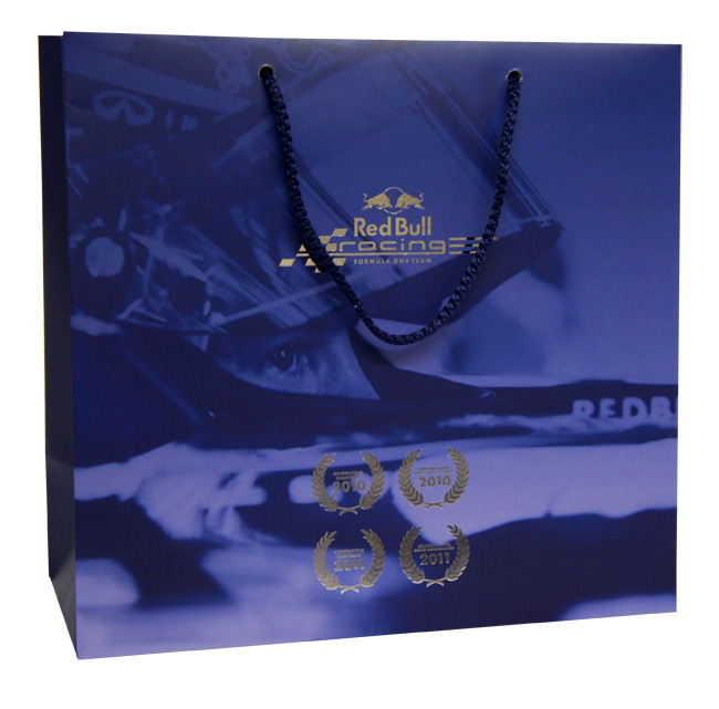 Red Bull Printed Paper Carrier Bags Over Printed With Silver Foil Block