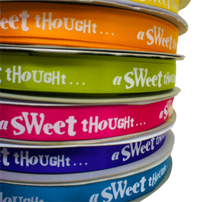 sweets thought printed ribbon in various colours