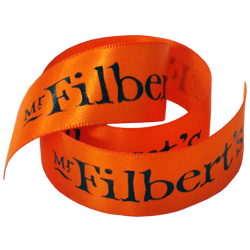 Mr Filberts orange printed ribbon 23mm wide