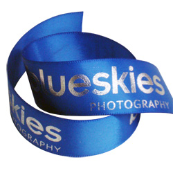 blueskies photography printed ribbon