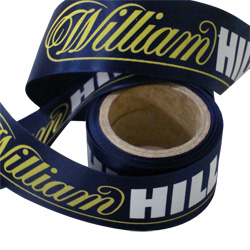 william hills printed ribbon. printed 2 colours on acetate ribbon
